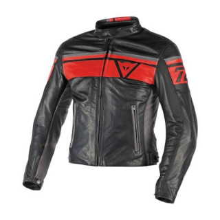 DAINESE BLACKJACK LEATHER JACKET - BLACK RED SMOKE
