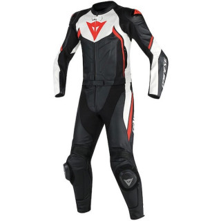 DAINESE AVRO D2 2 PCS PERF. SUIT - BLACK WHITE RED FLUO
