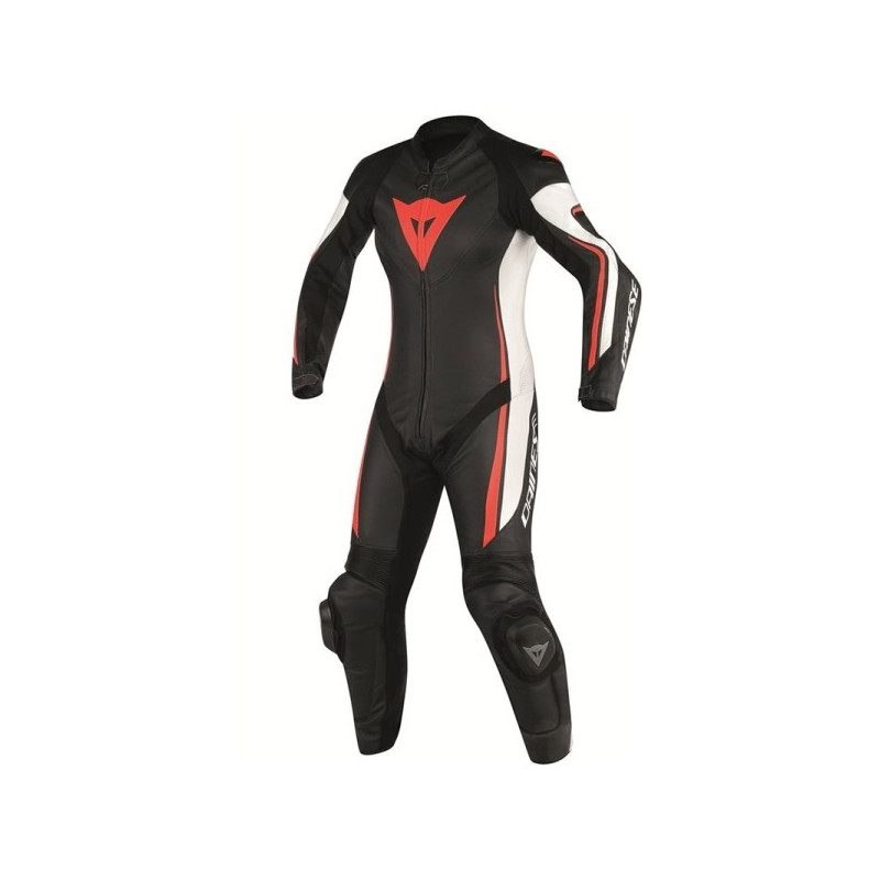 DAINESE ASSEN 1 PC PERF. LADY SUIT - BLACK WHITE RED FLUO