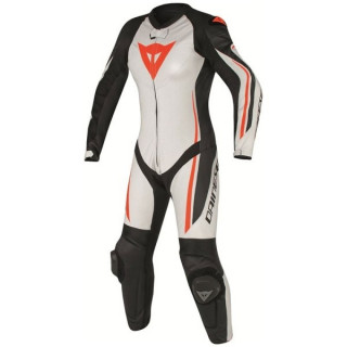 DAINESE ASSEN 1 PC PERF. LADY SUIT - WHITE BLACK RED FLUO