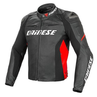 GIACCA DAINESE RACING D1 PERF. LEATHER JACKET - BLACK RED