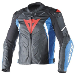 GIACCA DAINESE AVRO D1 LEATHER JACKET - BLACK SKY BLUE WHITE