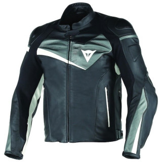 DAINESE VELOSTER LEATHER JACKET - BLACK ANTHRACITE WHITE