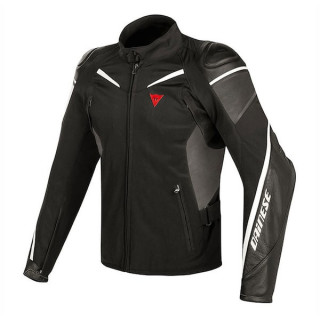 GIACCA DAINESE STREET MASTER LEATHER-TEX JACKET  - BLACK ANTHRACITE WHITE