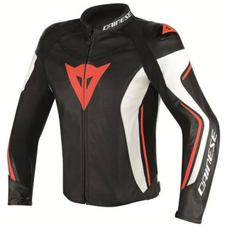 DAINESE ASSEN LEATHER JACKET WHITE BLACK RED FLUO