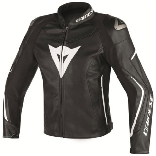 DAINESE ASSEN LEATHER JACKET - BLACK WHITE