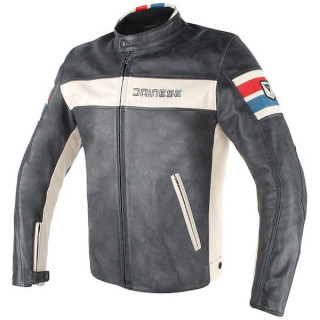 GIACCA DAINESE HF D1 LEATHER JACKET - BLACK ICE RED BLUE
