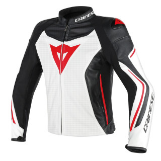 DAINESE ASSEN PERF. LEATHER JACKET - WHITE BLACK RED LAVA