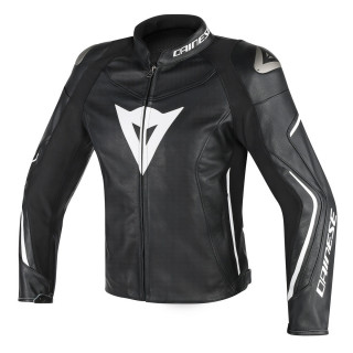 DAINESE ASSEN PERF. LEATHER JACKET - BLACK WHITE