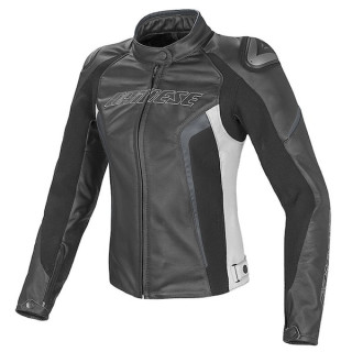 GIACCA DAINESE RACING D1 LADY LEATHER JACKET - BLACK WHITE ANTHRACITE