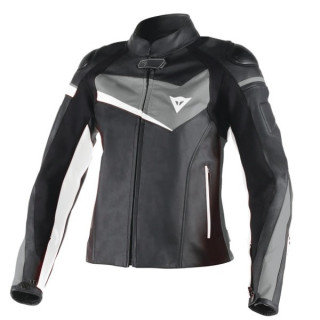 DAINESE VELOSTER LADY LEATHER JACKET - BLACK ANTHRACITE WHITE