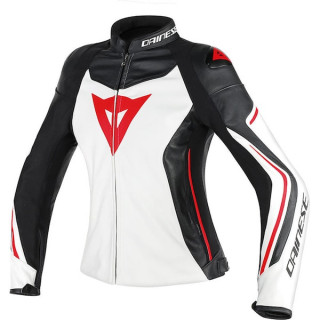 GIACCA DAINESE ASSEN LADY LEATHER JACKET - WHITE BLACK LAVA RED