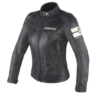 GIACCA DAINESE LOLA D1 LADY LEATHER JACKET - BLACK ICE