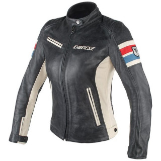 GIACCA DAINESE LOLA D1 LADY LEATHER JACKET - BLACK ICE RED BLUE