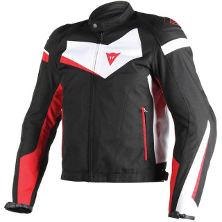 GIACCA DAINESE VELOSTER TEX JACKET - BLACK WHITE RED