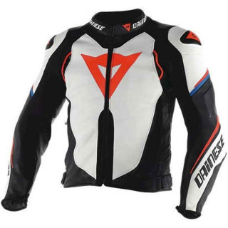 GIACCA DAINESE SUPER SPEED D1 PERFORATED LEATHER - WHITE BLACK FLUO RED
